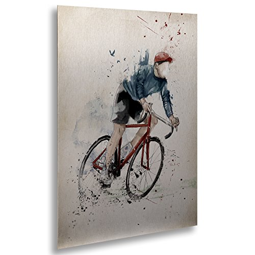 """Trademark Fine Art ALI1391-1622M Floating Brushed Aluminum I Want to Ride My Bicycle by Balazs Solti Framed Artwork, 16"""" x 22"""" from Trademark Fine Art"""