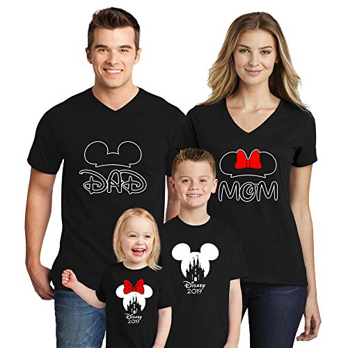 Natural Underwear Family Trip #2 Mickey Mouse Minnie Mouse Ears Cotton Mom Dad Family T Shirts Family Vacations 2019 V Neck T Shirts for Boys Girls Women Men Black Men Medium -
