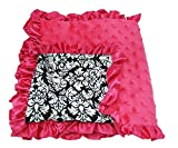 Hairbows Unlimited Infant Baby Boy & Girl Soft Minky Receiving Blankets (Hot Pink & Damask)