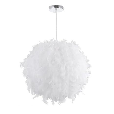 LEDMOMO Luces colgantes - Luces de techo con pantalla de pluma blanca con portalámparas E27 para sala de estar