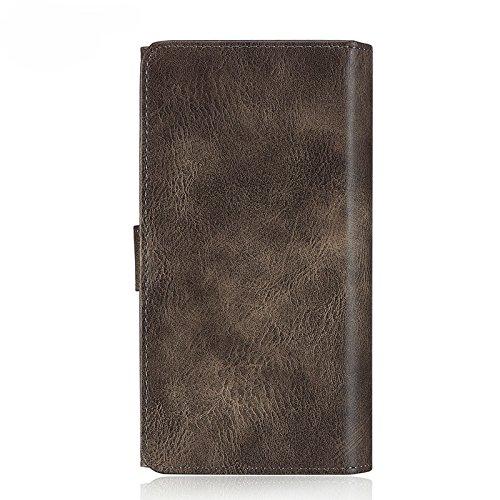 [해외]iPhone 7 Plus 케이스, Moyooo 프리미엄 가죽 지갑 케이스 대용량 지갑 케이스 iPhone7 Plus 5.5inch 그레이 용 탈착식 자석 커버/iPhone 7 Plus case, Moyooo Premi