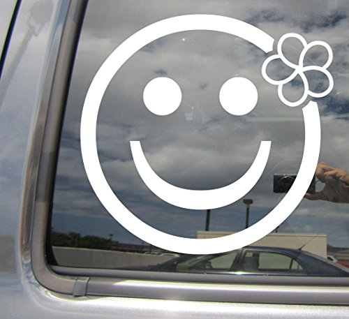 Flower Smiley Face (Right Now Decals - Smiley Face Plumeria Flower - Girly Cute Tropical Island Girl Hawaii - Cars Trucks Moped Helmet Hard Hat Auto Automotive Craft Laptop Vinyl Decal Store Window Wall Sticker 05056)
