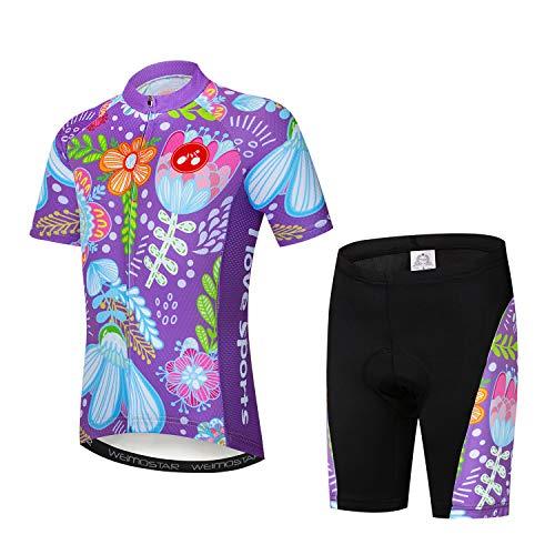 Kids Cycling Jersey Set Cartoon Short Sleeve Bike Shirt Top for Boy Girl Padded Shorts Purple Flowers Size L ()