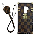 jiehao Samsung Galaxy S9 Plus S9+ Case, Vintage Elegant Luxury Designer Lattice PU Leather Back with Lanyard Soft Bumper Shock Absorption Trunk Case for Galaxy S9 Plus 6.2', Brown