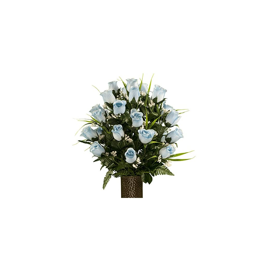 Blue-Roses-with-Lily-Grass-featuring-the-Stay-In-The-Vase-DesignC-Flower-Holder-MD1992