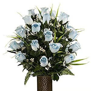 Blue Roses with Lily Grass, featuring the Stay-In-The-Vase Design(C) Flower Holder (MD1992) 1