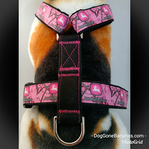 John Deere Hot Pink Camo Strap Dog Harness with Leash and Seat Belt Option
