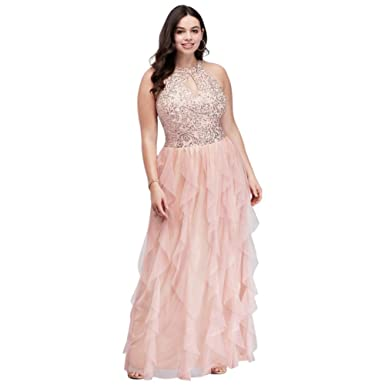 David\'s Bridal Sequined Lace Plus Size Halter Prom Dress with ...