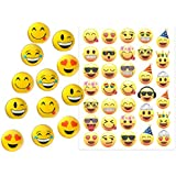 Emoji Party Favors for 12 ~ 12 Emoji Hi-Bounce Double Sided, Translucent Balls (1.8 inches) and 33 Emoji Temporary Tattoos - Super Emoticon Fun for Birthday Parties, Great for Prizes, Classroom Fun