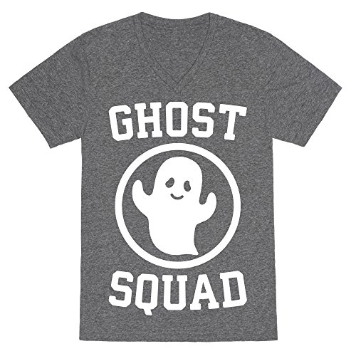 LookHUMAN Ghost Squad (White) Heathered Gray Medium Mens/Unisex V-Neck Triblend Tee by