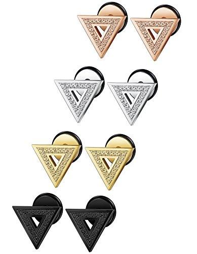 FIBO+STEEL+4+Pairs+Stainless+Steel+Triangle+Stud+Earrings+for+Men+Women+Ear+Piercing