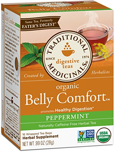 - Traditional Medicinals Organic Belly Comfort Peppermint Digestive Tea, 16 Tea Bags (Pack of 6)