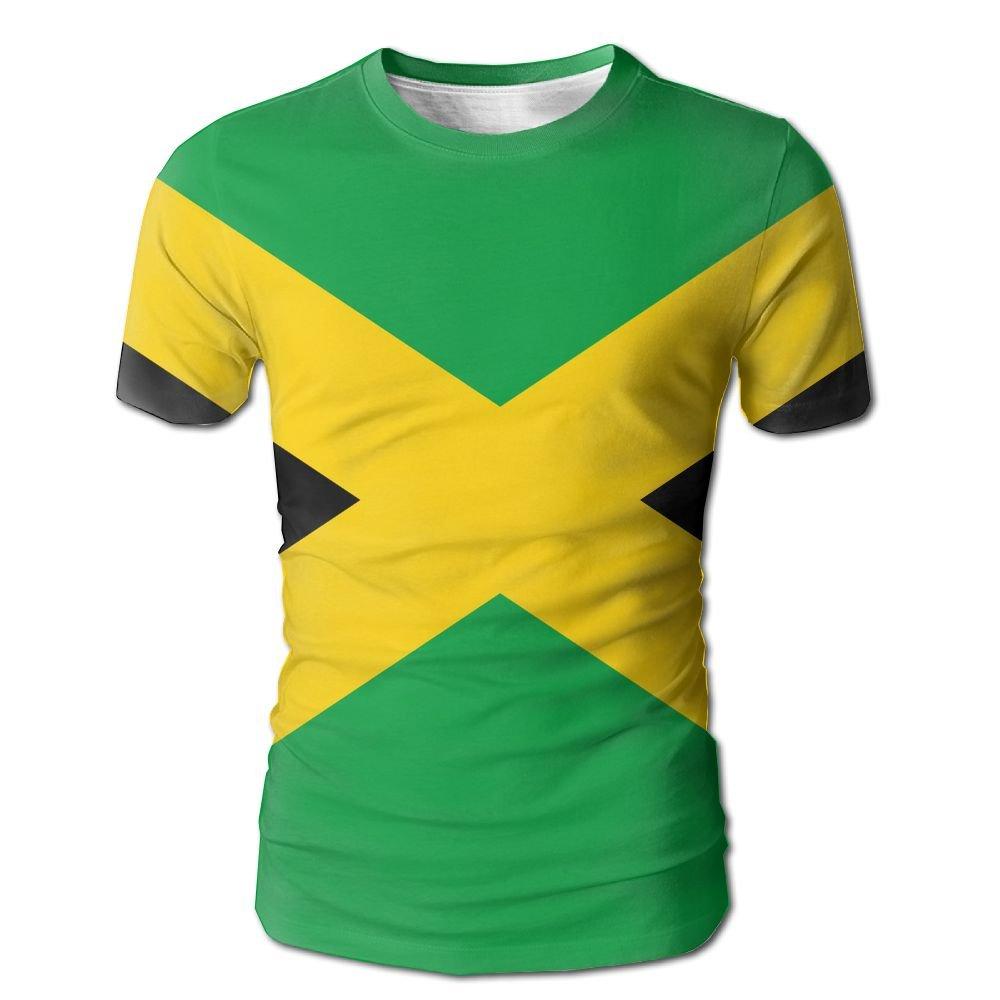 CUTEDWARF Hawaiian Short Sleeve Crewneck Tee 3D Printed Flag Jamaica T-Shirt