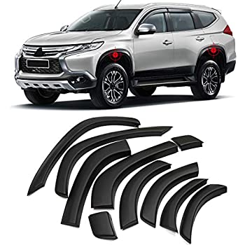 ITrims for Mitsubishi Pajero Sport/Montero Sport/Shogun Sport 2016-2018 Black Front & Rear Tire Cover Fender Flares Kit Wheel Fender Flares Cover Kit