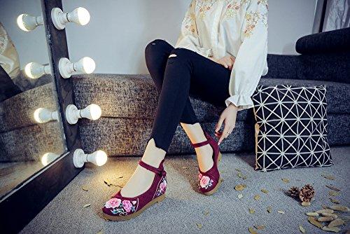 0 Cuñas Zapatos Flores Janes Suela Bordado Espesa Casuales Pisos Mujeres Mary 77nvqROp