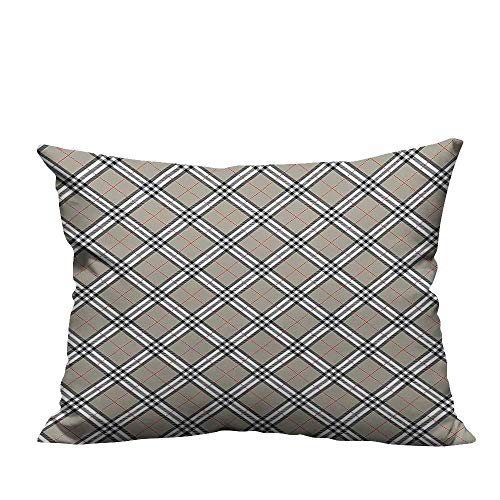 alsohome Throw Pillow Covers Scottish Tartan Featured Trendy Ethnic Aristocrat Medieval Design Grey Black White Sofa Bed Home Decoration13.5x19 inch(Double-Sided Printing)