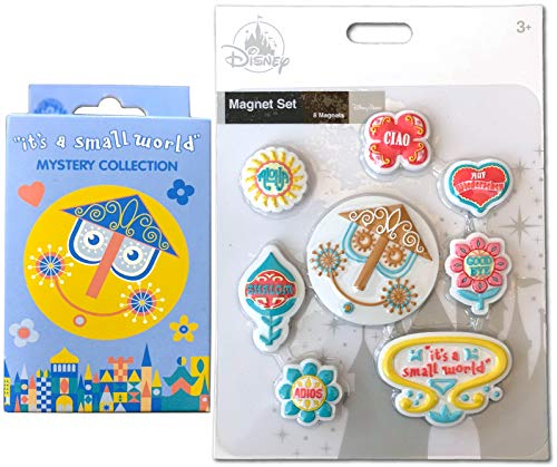 (Aloha It's A Small World Disney Collection 2 Theme Park Ride Character Trading Pins Blind Box + 8 Magnets Ciao Adios Shalom Exclusive Magic Kingdom Attraction Bundle 2 items)