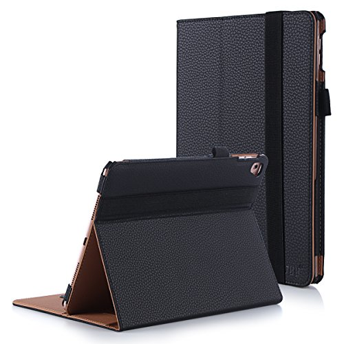 FYY Case for iPad Pro 9.7 - [Luxury Protection] Premium PU Leather Folio Case with Card Slots, Note Holder, Hand Strap for iPad Pro 9.7 (2016) Black