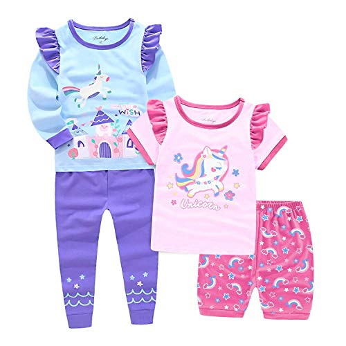 (Little Kid and Toddler Girl`s 4-Piece Snug-Fit 100% Cotton Unicorn Pajamas 2 to 7 Years (Unicorn`s Magic Castle, 2t) )