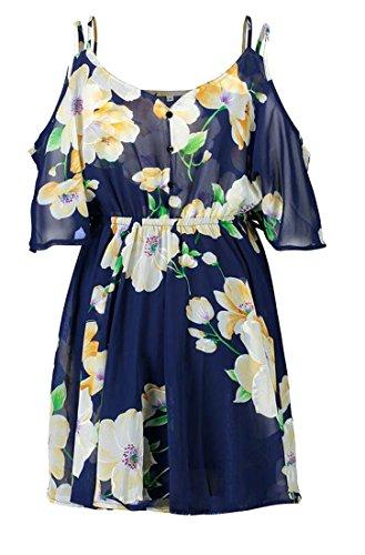 Les Femmes Cromoncent Strappy Ébouriffé V-cou Coupé Beachwear Épaule Robes Courtes Imprimé Bleu