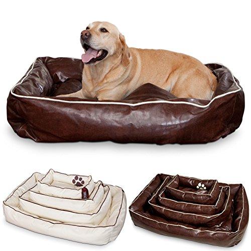 Smoothy Hundekorb aus Leder; Hunde-Körbchen; Hundebett für Luxus Vierbeiner; Braun Größe L (106x74cm)