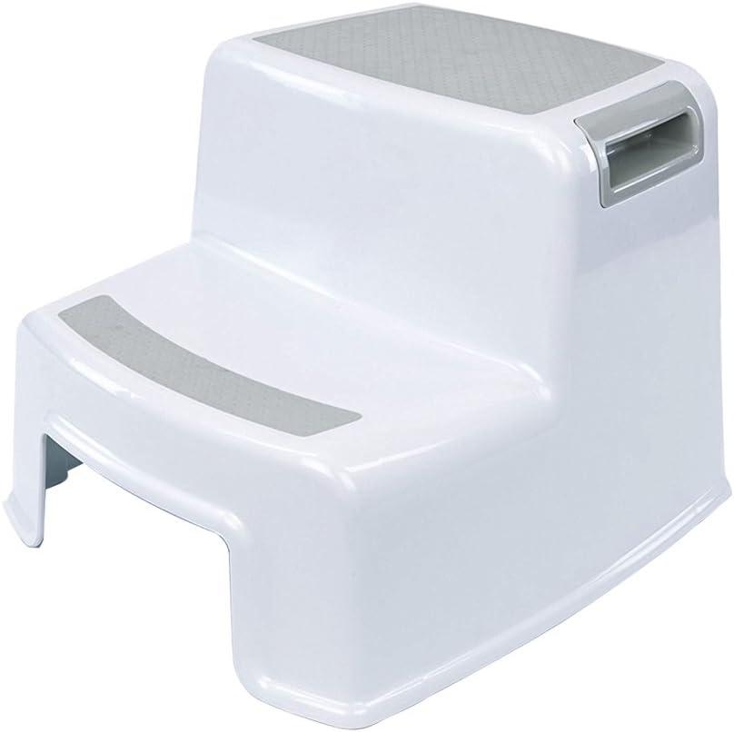 Taburete de dos pasos para niños, taburete de bebé 2, taburete para niños pequeños, asiento de entrenamiento para inodoro antideslizante, orinal de plástico para niños en la cama, baño, blanco y gris
