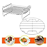 T&B Air Fryers Double Layer Rack & 8 Inch Cooking Rack Stackable Set with 4 Skewers Stainless Steel Baking and Cooling