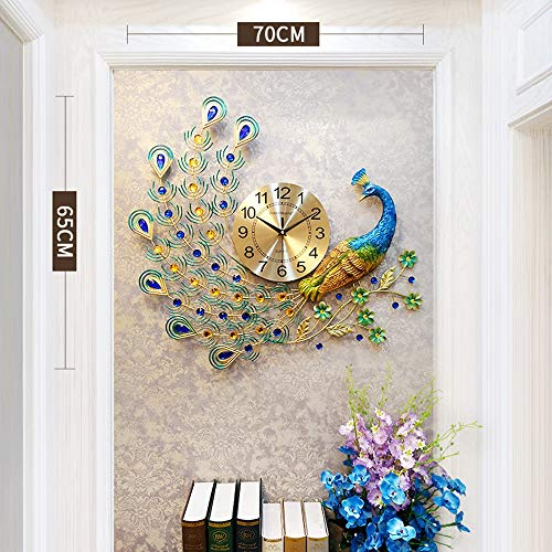 LANGSHI Home Decor European Peacock Wall Clock 5618007-COLORED Crystal Luxury Living Room Clock Creative Personality Modern Art Decoration Wall Clock Mute Wall Clock Quartz Clock