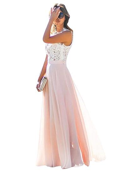 635e598212 OMZIN Femme Robe Longueur Maxi Robe en Mousseline très Jolie Robe de Mariage  soirée: Amazon.fr: Vêtements et accessoires