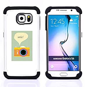 For Samsung Galaxy S6 G9200 - camera smile photographer poster vignette Dual Layer caso de Shell HUELGA Impacto pata de cabra con im??genes gr??ficas Steam - Funny Shop -
