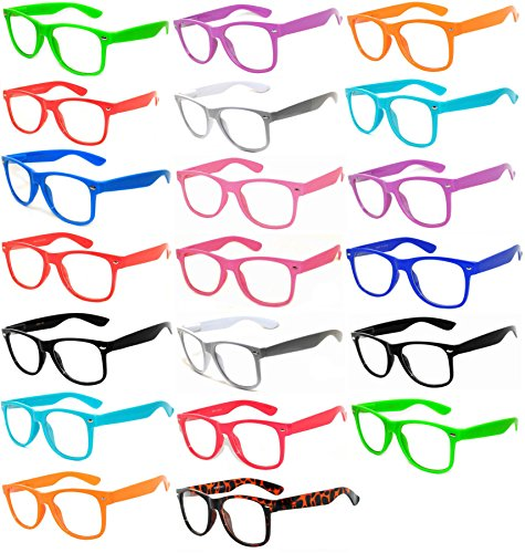 (20 Pieces Per Case) Wholesale Lot Clear Lens Glasses. Assorted Colored Frame Fashion Glasses. Bulk Glasses - Wholesale Bulk Nerdy Party Glasses, Party - Nerd Bulk Glasses