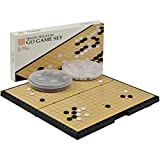 Magnetic Go Game Set with Single Convex Magnetic Plastic Stones Set and Go Board, 11.3 x 11.2 Inches