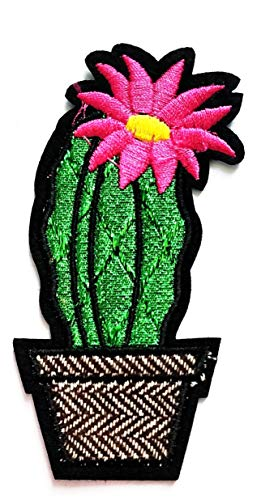 Nipitshop Patches Fashion nifty Green Cactus Pink Flower Flowerpot Cartoon Kids Patch Embroidered Iron On Patch for Clothes Backpacks T-Shirt Jeans Skirt Vests Scarf Hat Bag