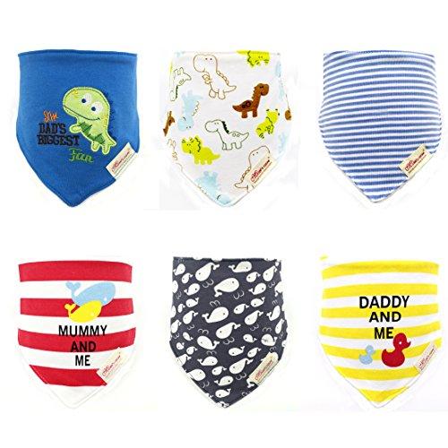 6pcs cartoon design pattern Comfortable Soft Cotton Saliva Towel lovely Baby Bibs (boy desigh) (Towel Baby Bibs)