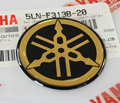 Yamaha Motorcycle Stickers - Yamaha 5LN-F313B-20 - Genuine 40MM Diameter Yamaha Tuning Fork Decal Sticker Emblem Logo Black / Gold Raised Domed Gel Resin Self Adhesive Motorcycle / Jet Ski / ATV / Snowmobile