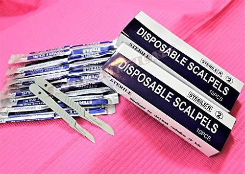Disposable Scalpel Blades No.20 & #21 With Plastic Handle – Suitable for Dermaplaning, Crafts, Medical/Surgical Instruments/Equipment and More – Sterile and Individually Foil Wrapped –( 2 BOX )