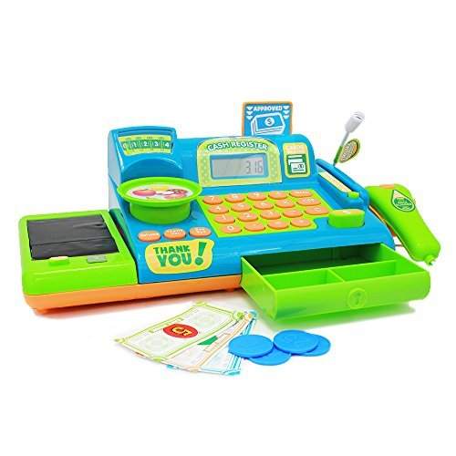 Boley Kids Toy Cash Register - Pretend Play Educational Toy Cash Register With Electronic Sounds, Play Money, Grocery Toy and -