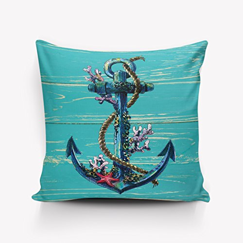 Nautical Coral Anchor - Nautical Anchor Coral Starfish Turquoise Teal Wood Board Pattern Throw Pillow Indoor Cover Pillow Case For Home Sofa Car Office 18