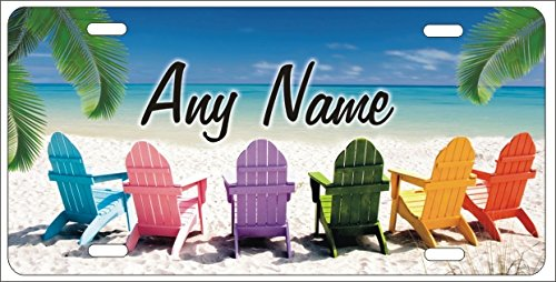 ATD Beach Chairs Tropical Beach Scene Decorative Car Tag Personalized Novelty Front License Plate ()