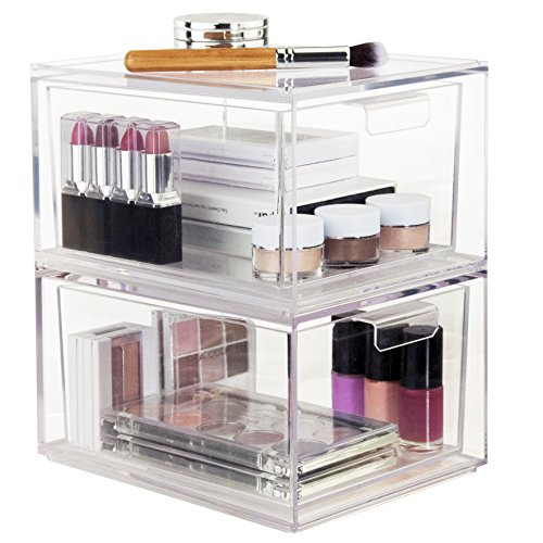 Set Of 2 Premium Quality Stackable Cosmetic Storage And