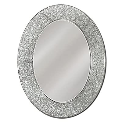 Head West 23 x 29 Coral Oval Mirror, 23x29 inches - Frameless oval mirror Simulated coral pattern border design Metallis highlights with translucent border - bathroom-mirrors, bathroom-accessories, bathroom - 51%2B1wdqBIdL. SS400  -