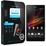 SPIGEN SGP Sony Xperia Z Screen Protector Glass [GLAS.t SLIM] ** REVISED ** Tempered Glass Screen Protector Clear + Back Protect