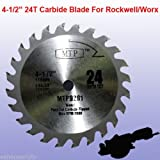 TCT 24T 4-1/2' 4.5 inch Carbide Circular Saw Blade for Rockwell Rk3441k , Worx WX429L 9.5mm/ 3/8' arbor wood, plastic and composite materials