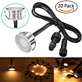 Sumaote Low Voltage LED Deck Lights Kit Waterproof Φ31mm Outdoor Garden Patio Step Stair Landscape Decor Recessed Lamp LED In-ground Lighting, (20pcs, Warm White), Stainless Steel Body, Shipped by DHL