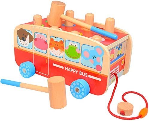 Wooden Pull Toys for Toddlers Pound and Tap Push Toy Car Best Gifts for 1 2 3 Year Old Kids Boys and Girls