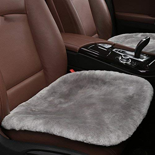 U&M Sheepskin Car Interior Seat Covers, Soft Luxurious Genuine Wool Seat Cushion Pad Winter Mat Universal Fit Comfort in Auto, Plane, Office Home(19.3 Inch X 19.3 Inch) - Seat Rubberized Pad