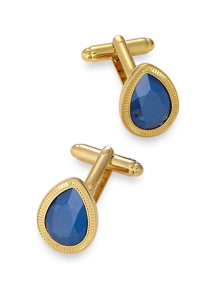 Paul Fredrick Men's Swarovski Crystal Teardrop Cufflinks Blue 000