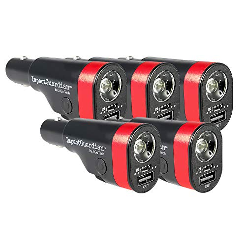 J-Go Tech ImpactGuardian 6 in 1 Car Safety Device Tool | USB Car Charger | Window Breaker | Seat Belt Cutter | 2200mAh Power Bank | Ultra Bright 140 Lumen Flashlight with Red Emergency Beacon (5)