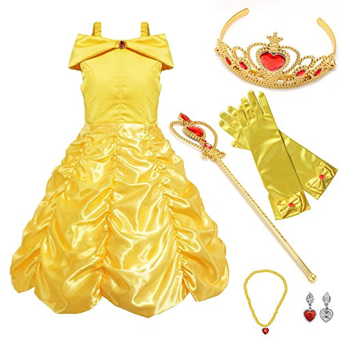 (SurpCos Princess Costume Drop Shoulder Layered Party Dress up with 4 Sets Accessories(Gloves, Tiara, Wand, Necklace))