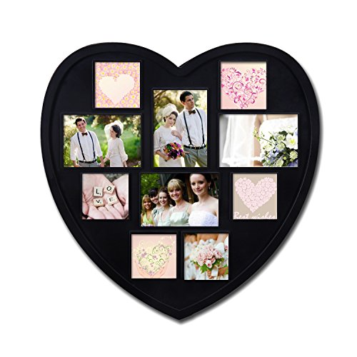 Adeco 10 Openings Black Plastic Heart Shape Wall Hanging Wedding Picture Frame - Made to Display Six 3x3 and Four 3.5x5 Photos